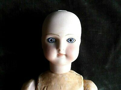 Antique French Belton Bisque Doll Rare Early Paperweight Eyes Solid Closed Mouth