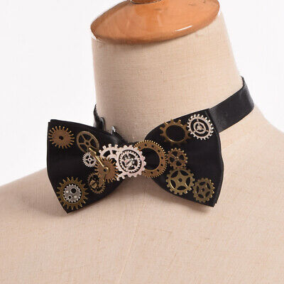 Vintage Victorian Steampunk Gear Watch Movement Bowtie Costume Bow Tie Neckwear