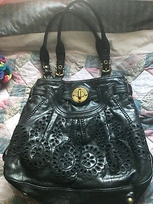 BRIGHTON MASTERPIECE Collection LOCKHEART XLG Cut Out Blk FLOWERS FLORAL HandBaG