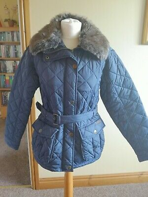 Caldene Ladies Size 10/12 Small Riding Jacket/ Winter Coat Navy Quilted & Belt