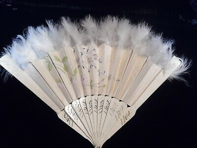 Ostrich Feather TIPPED Folding Fan - White