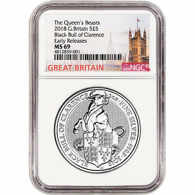 2018 U.K. £5 Silver Queen's Beasts Black Bull 2oz NGC MS69 Early Releases