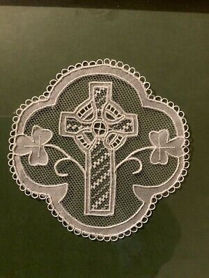 Vintage Irish Lace Doily, High Cross Shamrocks FRAMED