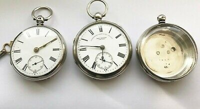 two silver hallmarked cased pocket watches, and one case
