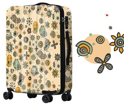 D280 Lock Universal Wheel Birds Pattern Travel Suitcase Luggage 20 Inches W