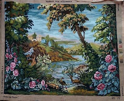 Large Vintage French Verdure Aux Echassiers Tapestry