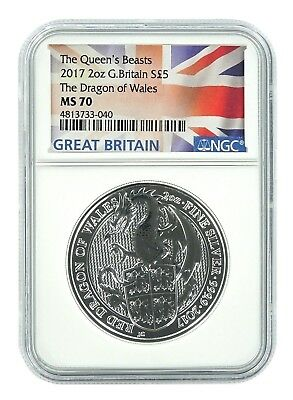 2017 U.K. £5 Silver Queen's Beasts Red Dragon 2oz NGC MS70 Flag Label