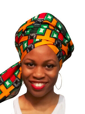 Orange,Green, Red African Print Ankara Head wrap, Multicolor Tie, scarf  DP3767