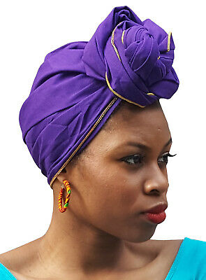 Purple African Cotton head wrap Scarf with Gold Trim DP3839HG