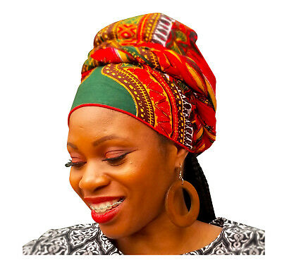 Green Dashiki African Print Head wrap DP3848H