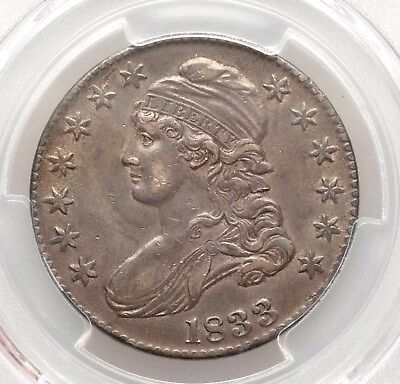 1833 PCGS AU53 Capped Bust Silver Half Dollar Nice About Uncirculated Type Coin