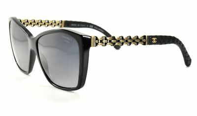edefd3fd5190d CHANEL Sunglasses 5327Q 501 S8 Black Leather   Cooper Chain  Gray Polarized