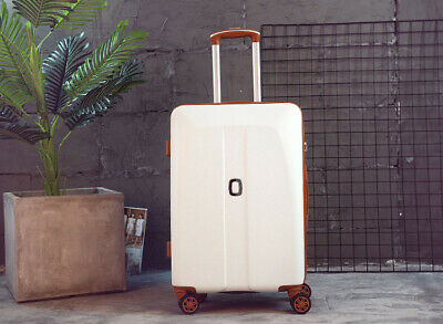 D966 White ABS Universal Wheel Coded Lock Travel Suitcase Luggage 24 Inches W