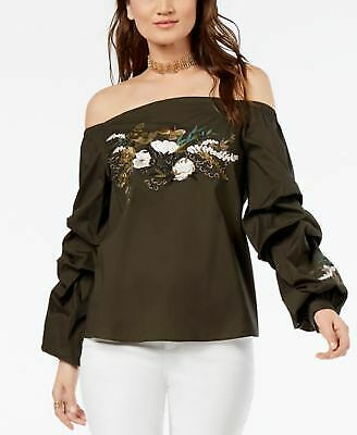 ce322237543b21 INC  89 Womens New 1487 Green Embroidered Off Shoulder Long Sleeve Top S B+B