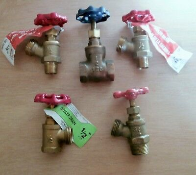 New Old Stock Mixed lot of Brass Valves ~ Boiler ~ Gate ~ Lot of 5