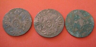 Lot of 3 post medieval coins. Large, copper, Austria, Hungary.