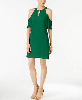 VINCE CAMUTO $138 Womens New 1162 Green Cold Shoulder Keyhole Shift Dress M B+B