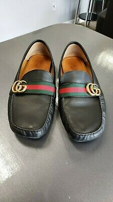 907a5c120c0 Authentic Men s Gucci Black Leather Logo Driver GG Loafers Size 9 Style    450891