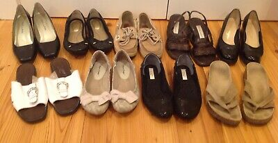 Lot Of 9 Pairs--Womens Shoes Size 7/ 7.5 Ferragamo Brighton Sperry Flats Sandals