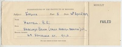INSTITUTE OF BANKERS - 1959 Examination Result - B R Hennell / Fenchurch St