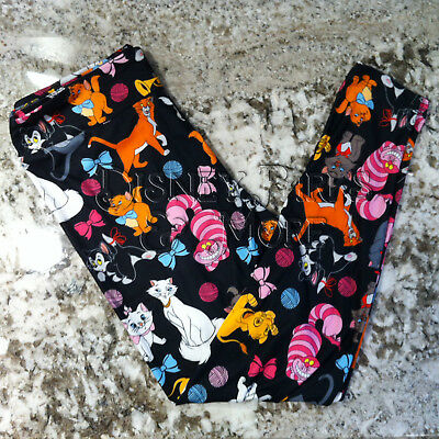 Disney Parks Cat Lady Cats of Disneyland Black Womens Leggings in Size S-2X