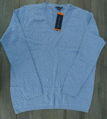 2bc503532 TOMMY HILFIGER SWEATER Cable Knit Gray Ribbed Turtleneck L Vintage ...