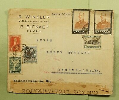 DR WHO 1916 GREECE TO GERMANY WWI CENSORED  d94283