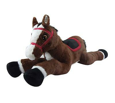Goffa Stuffed Animal, Brown with Black Hair - Empress Jumbo Horse with Bridle an