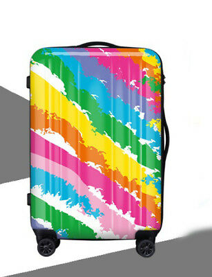 D386 Lock Universal Wheel Fashion Painting Travel Suitcase Luggage 20 Inches W