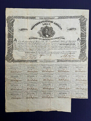 Confederate States of America Loan Bond: 1000 dollar, April 4,1862, 8%