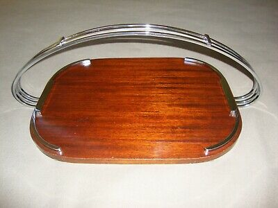 Art Deco Chrome and Wood Cocktail Tray