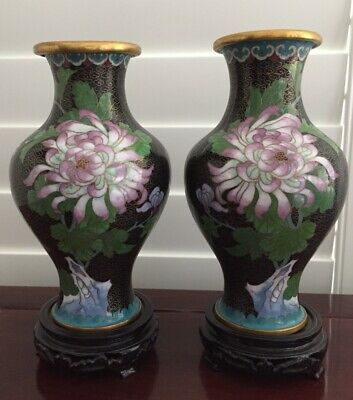 Pair 19th/20thc Chinese Cloisonne Vase on Stands  21cm tall