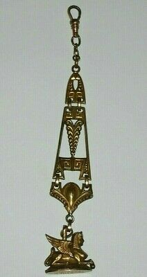 Antique Victorian Egyptian Revival Pendant Winged Sphinx Rare Watch Fob Gold Pl.