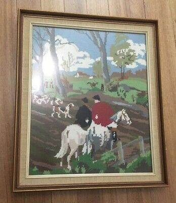 Vintage Fox Hunting Tapestry Completed 1970's Framed