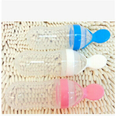Infant Silicone Squeezing Feeding Spoon Safe Supplement Feeder Spoon Supplies DT