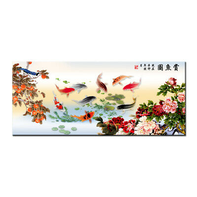 Home Decor Wall Art HD print oil painting on Canvas Feng Shui Fish Koi Painting