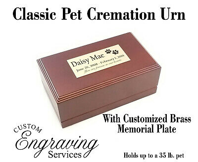 PET CREMATION URN CLASSIC WITH BEVELED EDGES dark cherry stain  - CLASSIC35-1