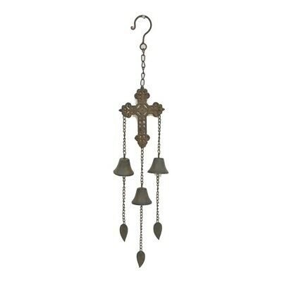 Hanging Cross W Bell Hanger Chime Hanging Sign Decor Metal Rust Brown 10X57Cm