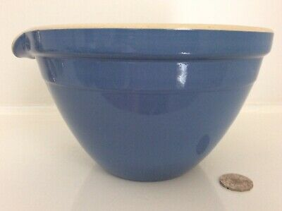 Australian HOFFMAN POTTERY large MIXING BOWL blue with pouring lip BEAUTY!