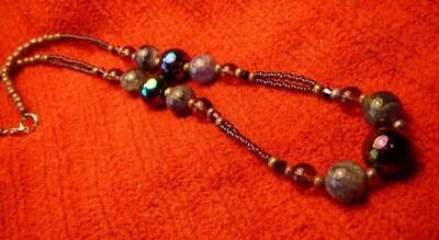 Galactic Purple Amethyst Beaded Necklace - Native American Indian