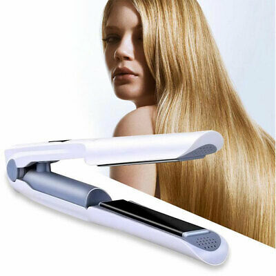 Portable Cordless USB Rechargeable 2 In 1 Hair Curling Straightener Iron Mini
