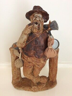 Australian Pottery FOXHILL POTTERY SWAGMAN with the works SWAG, PAN, FOOD PACKS