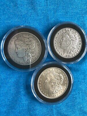 Morgan Silver Dollars ~Lot of 3~1900,1884-s,1885-O Nice collection, encapsulated