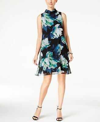 VINCE CAMUTO $128 Womens New 1166 Blue Floral Sheer Fit + Flare Dress 2 B+B