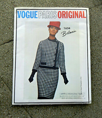 Original 1960s Vogue Couturier Pattern Dress and Jacket Balmain 36 Uncut FF