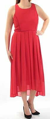 VINCE CAMUTO $128 Womens New 1333 Red Sleeveless Jewel Neck Hi-Lo Dress 12 B+B