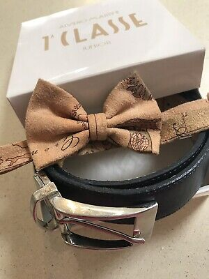 Alvierro Martini Boys Leather Belt And Matching Dickie Bow In Original Box