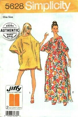 Simplicity Sewing Pattern 5628 Womens Caftan Vintage Reproduction 1970s