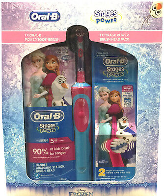 Braun Oral-B Kids Child Power Toothbrush | Rechargeable | 3 Heads Included NEW