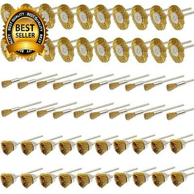Brass Wire Brush Kit 60Pcs 3Mm Brushes Cup Wheels Cleaning Polishing For Dremel
